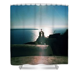 Shower Curtain featuring the photograph Peaceful Sunset Santorini Island Greece by Colette V Hera  Guggenheim