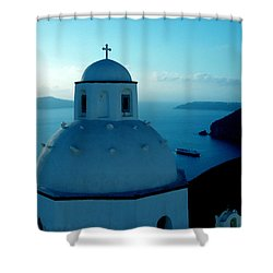 Peacefull Santorini Greek Island  Shower Curtain by Colette V Hera  Guggenheim