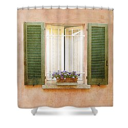 Peach And Green Window In Venice Shower Curtain by Brooke T Ryan