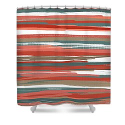 Peach And Neutrals Shower Curtain by Lourry Legarde