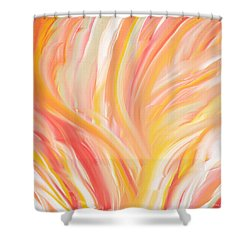 Peach Flare Shower Curtain by Lourry Legarde
