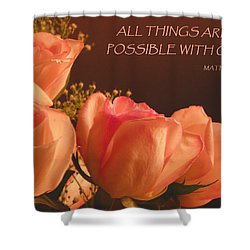Peach Roses With Scripture Shower Curtain