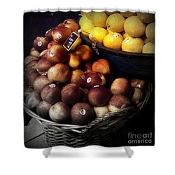 Peaches And Lemons Antique Shower Curtain by Miriam Danar
