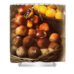 Peaches And Lemons - Old Photo - Top Finisher Shower Curtain by Miriam Danar