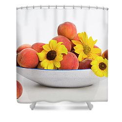 Peaches And Sunflowers Shower Curtain by Diane Macdonald