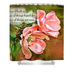 Peachy Keen With Verse  Shower Curtain by Debbie Portwood