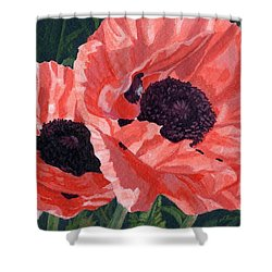 Shower Curtain featuring the painting Peachy Poppies by Lynne Reichhart