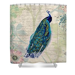 Peacock And Botanical Art Shower Curtain by Peggy Collins