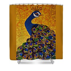 Shower Curtain featuring the tapestry - textile Peacock Blue by Apanaki Temitayo M