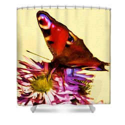 Shower Curtain featuring the digital art Peacock Butterfly by Daniel Janda