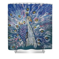 Peacock Dressed In White Shower Curtain