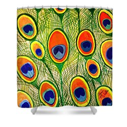 Peacock Feather Frenzy Shower Curtain