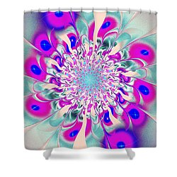Peacock Flower Shower Curtain by Anastasiya Malakhova