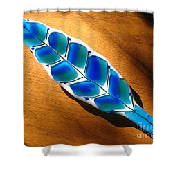 Peacock Fused Glass Leaf Shower Curtain by Donna Spencer