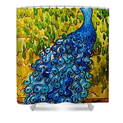 Shower Curtain featuring the painting Peacock by Katherine Young-Beck