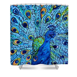 Shower Curtain featuring the painting Peacock On Blue by Eloise Schneider