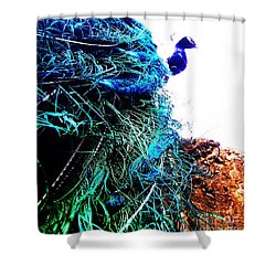 Shower Curtain featuring the photograph Peacock Portrait by Vanessa Palomino
