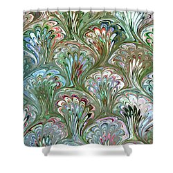 Peacock Shell Pattern Abstract Shower Curtain by Karon Melillo DeVega