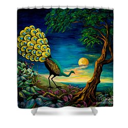 Peacock Strolls On The Beach Shower Curtain by Larry Martin
