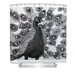 Shower Curtain featuring the drawing Peacock Walk by Megan Dirsa-DuBois