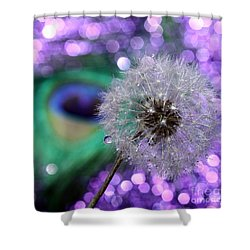 Peacock Wish Shower Curtain by Krissy Katsimbras