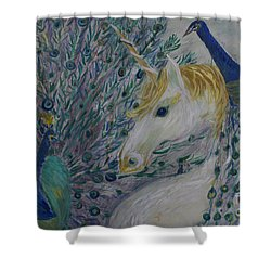 Peacocks With Unicorn Shower Curtain