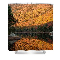 Shower Curtain featuring the photograph Peak Fall Foliage On Beaver Pond by Jeff Folger
