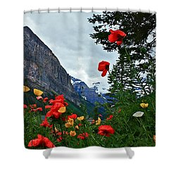 Peaks And Poppies Shower Curtain by Linda Bianic