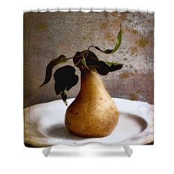 Pear On A White Plate Shower Curtain
