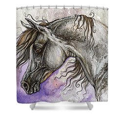 Pearl Arabian Horse Shower Curtain by Angel  Tarantella