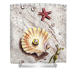 Pearl In The Seashell Sea Star And The Water Drops Shower Curtain by Irina Sztukowski