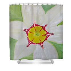 Pearl White Flower Shower Curtain by Sonali Gangane