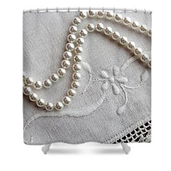 Pearls And Old Linen Shower Curtain by Barbara Griffin