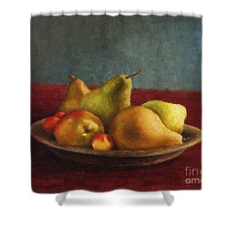 Pears And Cherries Shower Curtain
