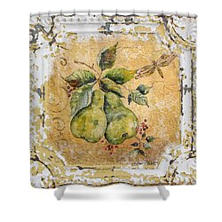 Pears And Dragonfly On Vintage Tin Shower Curtain by Jean Plout
