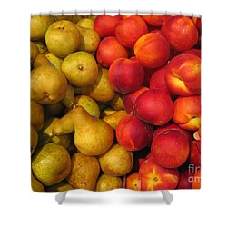 Pears And Peaches. Fresh Market Series Shower Curtain by Ausra Huntington nee Paulauskaite