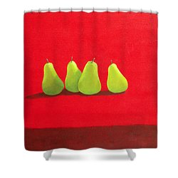 Pears On Red Cloth Shower Curtain by Lincoln Seligman