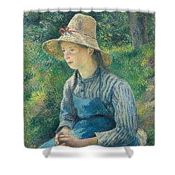 Peasant Girl With A Straw Hat Shower Curtain by Camille Pissarro