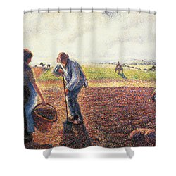 Peasants In The Field Eragny Shower Curtain by Camille Pissarro