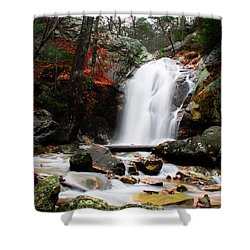 Peavine Falls In Autumn Shower Curtain by Shelby  Young
