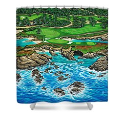 Shower Curtain featuring the painting Pebble Beach 15th Hole-north by Jane Girardot