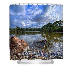 Pebble Beach Shower Curtain by Debra and Dave Vanderlaan