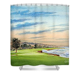 Shower Curtain featuring the painting Pebble Beach Golf Course 18th Hole by Bill Holkham