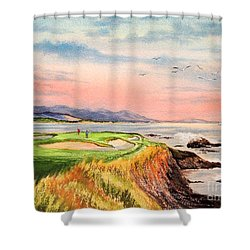 Shower Curtain featuring the painting Pebble Beach Golf Course Hole 7 by Bill Holkham