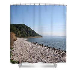 Shower Curtain featuring the photograph Pebbled Beach by Tracey Harrington-Simpson
