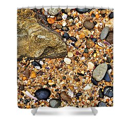 Pebbles And Sand Shower Curtain by Kaye Menner