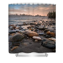 Pebbles Shower Curtain by Davorin Mance