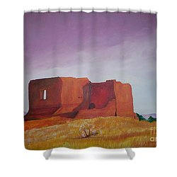 Shower Curtain featuring the painting Pecos Mission Landscape by Eric  Schiabor