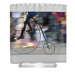 Pedaling Past Shower Curtain by Ann Horn
