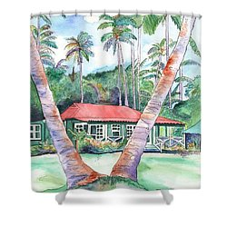 Peeking Between The Palm Trees 2 Shower Curtain by Marionette Taboniar
